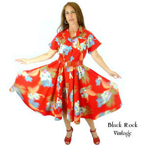 Floral Red Circle Dress, Women's Small